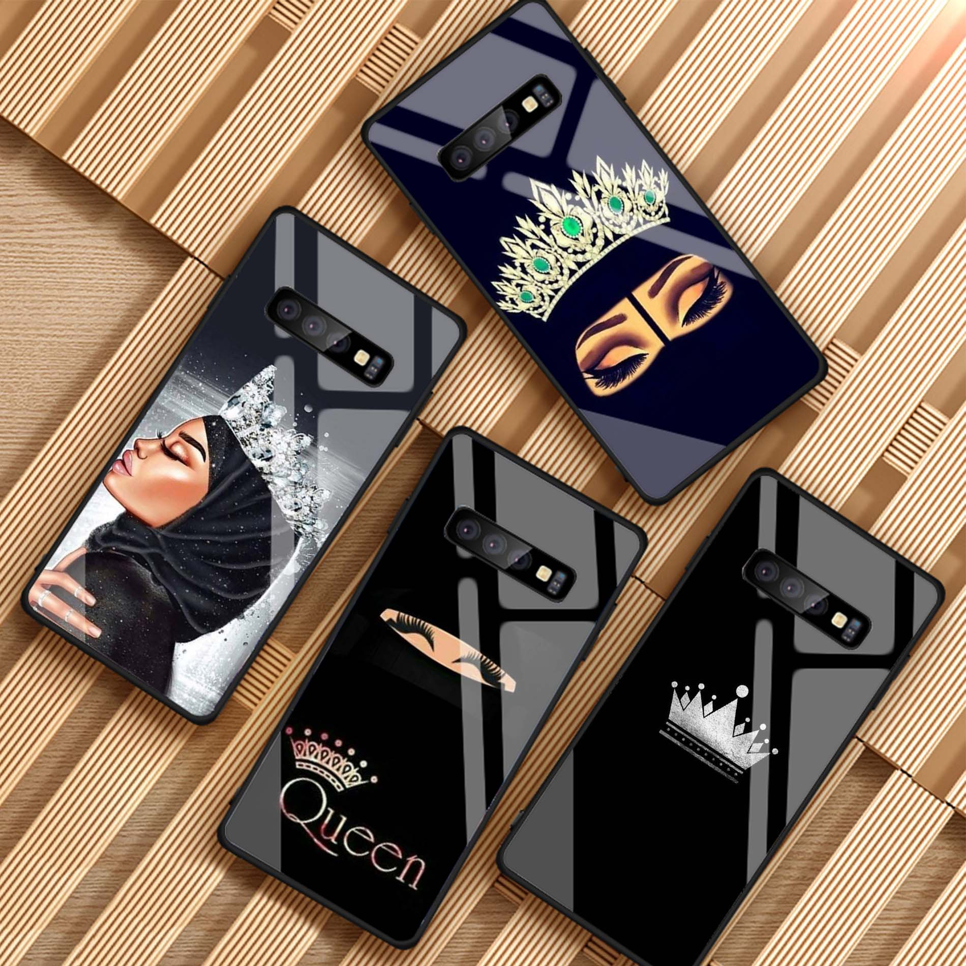 Muslim Islamic Gril Queen Crown For Samsung Galaxy NOTE 8 9 S8 S9 S10 PLUS A8 A6 J6 J8 2018 Tempered Glass Phone Case(China)