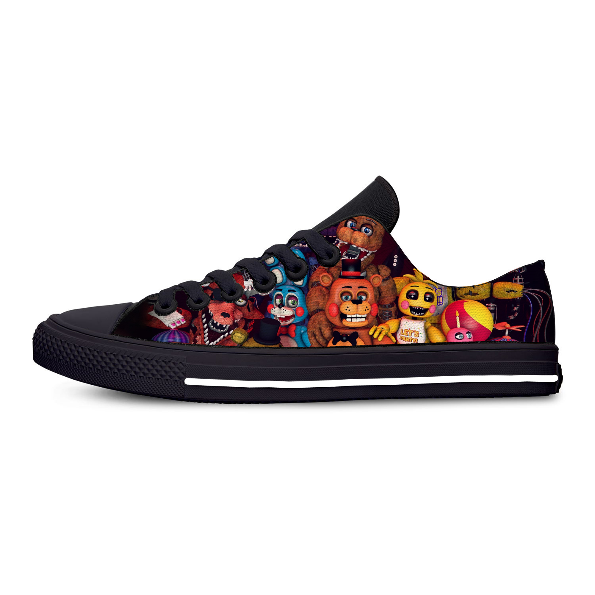 Five Nights At Freddy Fnaf Fashion Funny Horror Casual Canvas Shoes Low Top Lightweight Breathable 3D Printed Men Women Sneakers