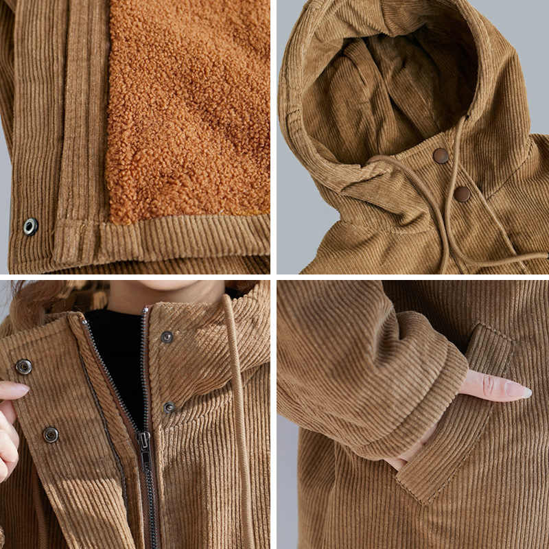 Chaquetas de lana con capucha azul, 2XL (UK24-26) Abrigo acolchado de lana de cordero en contraste /— Chaqueta con capucha Mujer Invierno Moda de invierno Chaqueta informal con cremallera c/álida