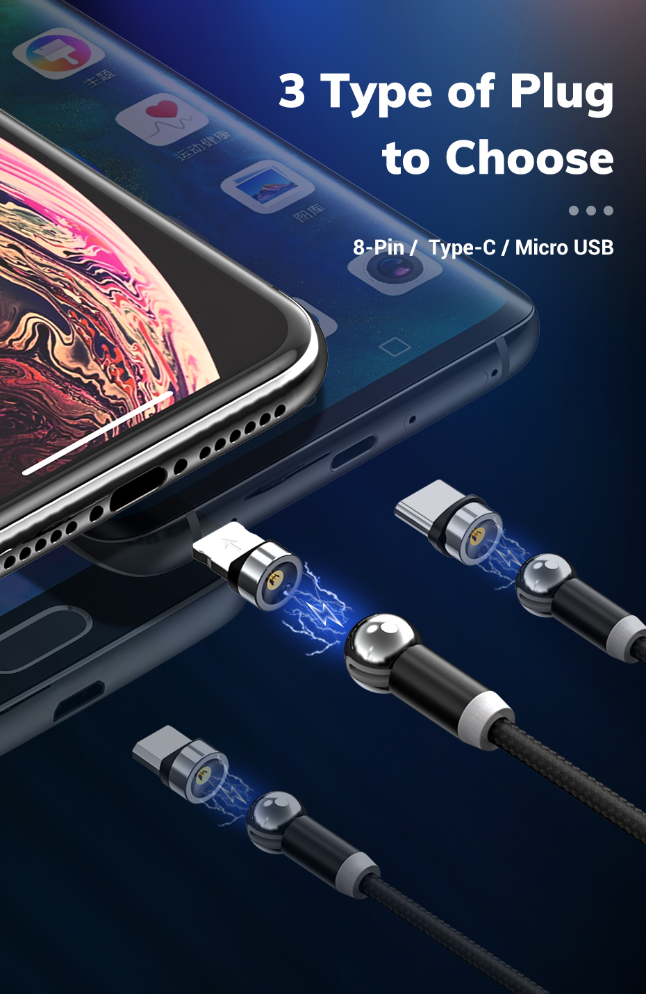360 Degree Rotate Magnetic Micro USB Type C Lightning Cable LED Magnetic Charging Cable for iPhone Samsung