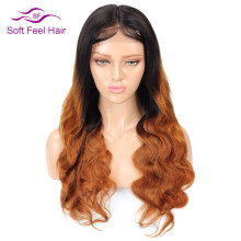 T1B/30 4*4 Lace Closure Wig Soft Feel Hair Ombre Lace Closure Human Hair Wigs For Black Women 2Tone Remy Brazilian Body Wave Wig(China)