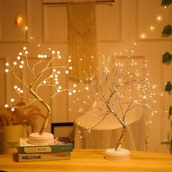 LED Night Lights Mini Christmas Tree Copper Wire Garland Lamp for Home Kids Bedroom Decor Fairy Lights Luminary Holiday Lighting