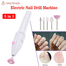 Electric Nail Drill Machine Manicure Set 5 in 1 Nail Art Manicure Tool Nail Drill File Grinder Grooming Kit nail polish remover