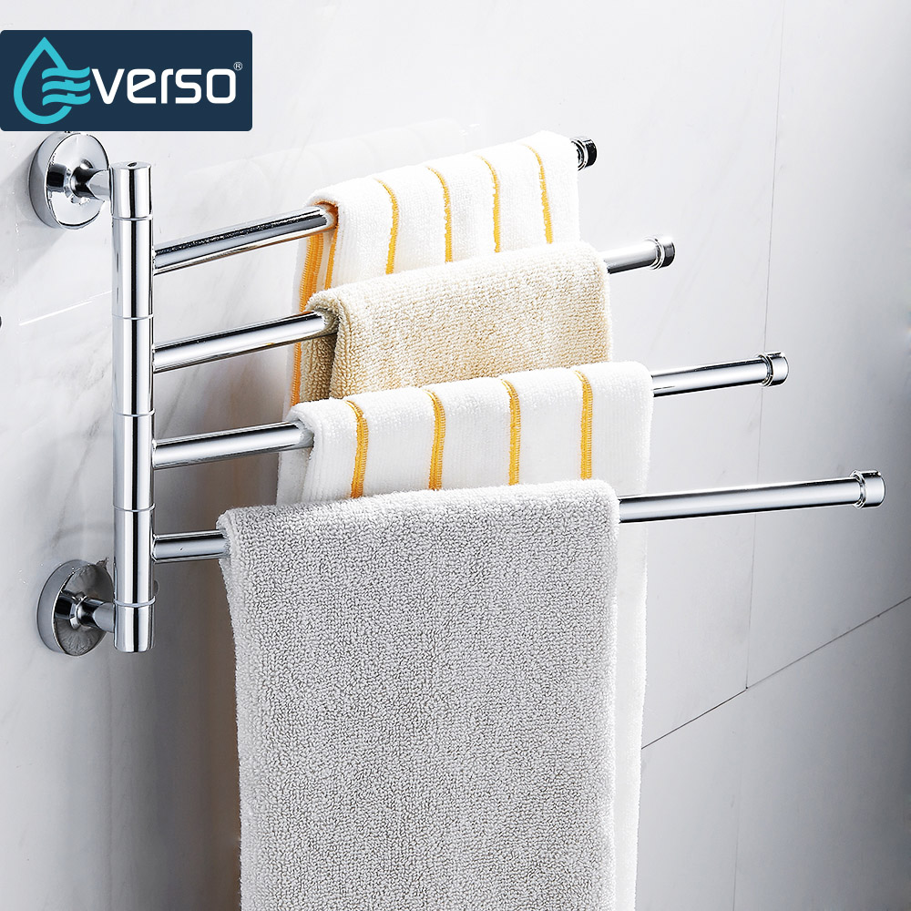 Everso Stainless Steel Towel Bar Rotating Towel Rack Bathroom Kitchen Wall-mounted Towel Polished Rack Holder Hardware Accessory