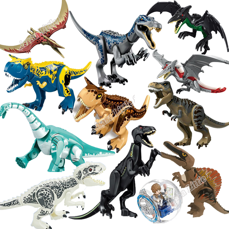 Jurassic World 2 Building Blocks Dinosaurs Figures Bricks Tyrannosaurus Rex Indominus Rex I-Rex Assemble Kids Toys