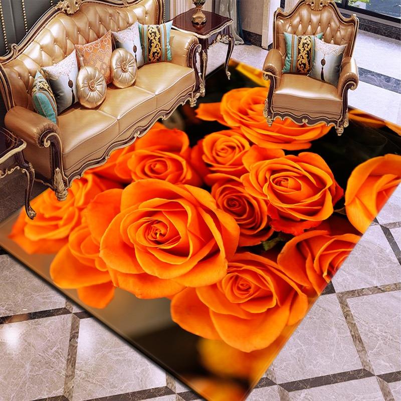 3D impression tapis Rose fleur tapis multicolore Rose rouge mariage tapis antidérapant enfants salon tapis grandes filles chambre tapis maison