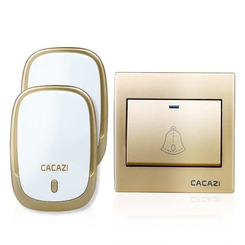 CACAZI AC110-220V Wireless Security Doorbell Waterproof 1 Button+2 Plug-in Receivers 300M Remote Music DoorDell EU/UK/US Plug