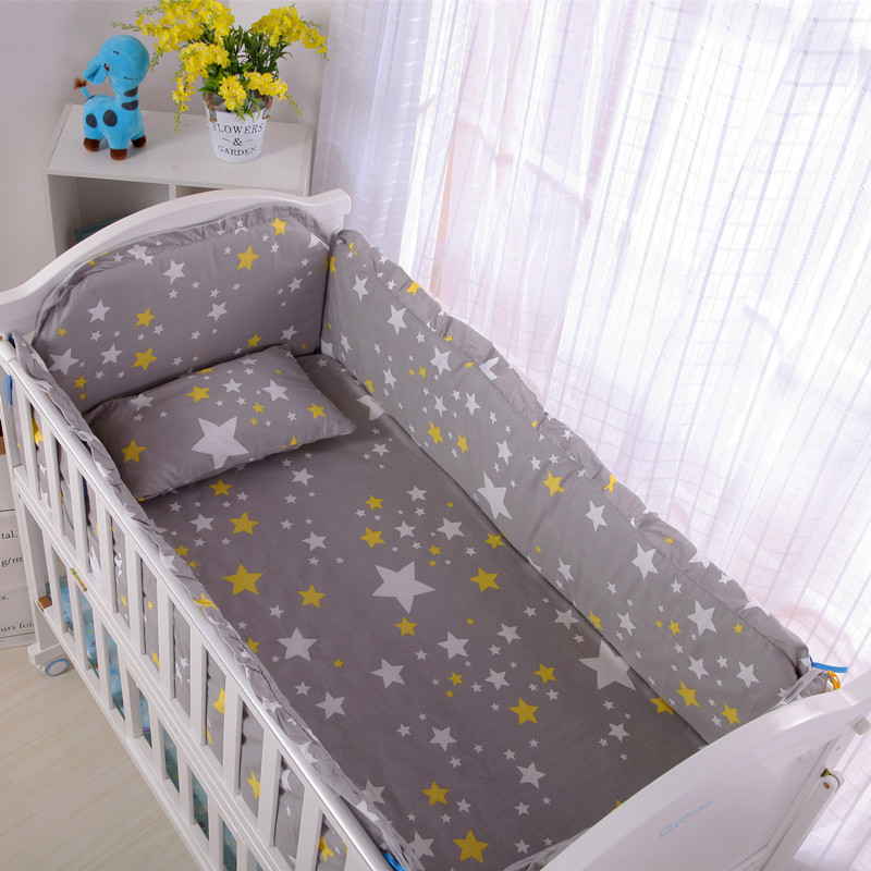 6PCS Baby Bedding Sets Crib Bumpers Bed Around Cuna Bebe Bedding Set Cotton Crown Infant Crib Bed (4bumper+sheet+pillow Cover)