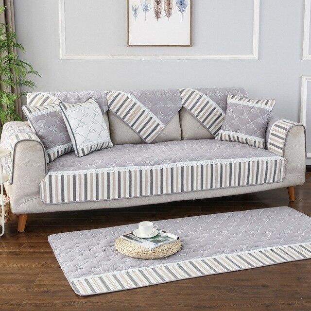 Фото полосатый тканевый чехол для дивана на четыре сезона нескользящая цена