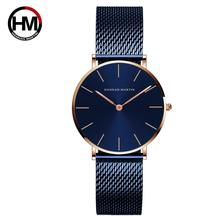 2021 NEW BLUE Simple Design Japan Quartz Movement Waterproof Ladies Wristwatch Stainless Steel Band Classic Watches for Women