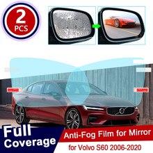 Para volvo s60 2006 2020 2010 capa completa anti nevoeiro filme espelho retrovisor à prova de chuva claro anti-nevoeiro filmes acessórios do carro 2011 2012