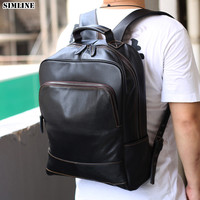 Genuine Cow Leather Backpack For Men Vintage Men's Male Travel Backpacks Shoulder Laptop Bag School Bags Large Rucksack For Man