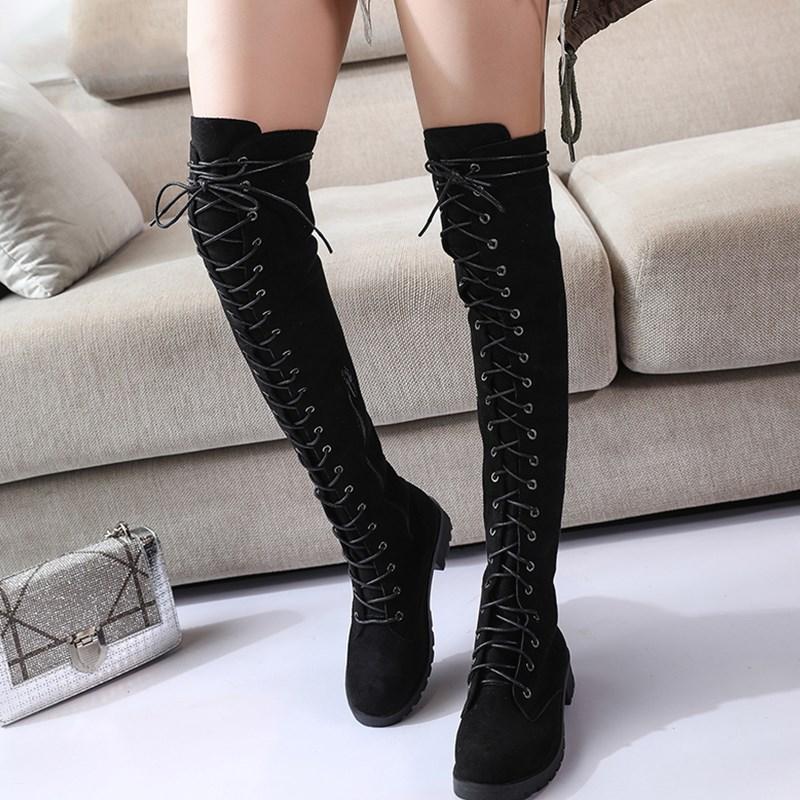 2019 новая стильная женская обувь Сапоги выше колена на шнуровке Большой Размер (43) на высоком каблуке ботинки на платформе ботинки с высоким ...
