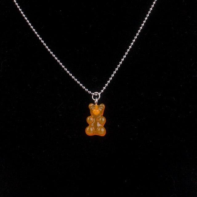 Moda multicolorido transparente urso colar bonito doce cor resina gummy bear pingente colar feminino jóias