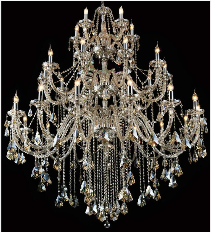Gratis frakt Moderne lysekrone Stor Cognac Crystal lysekrone For stue - Innendørs belysning