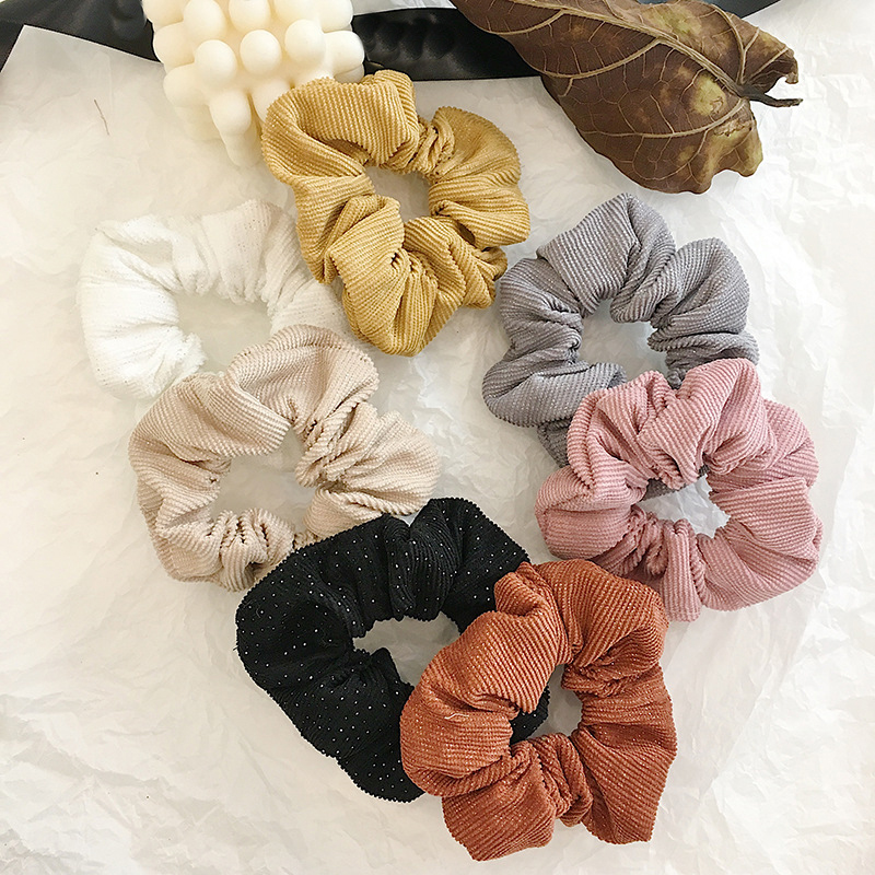 Solid Color Corduroy Scrunchies Autumn Winter Women Elastic Hair Rubber Bands Ponytail Hair Ring Korean Sweet Hair Accessories