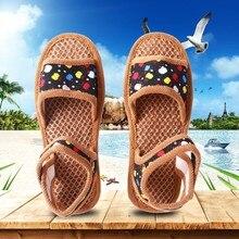 Moda mujer verano marrón malla verano sandalias estampado Vintage Slip On Sandalias cómodas para playa zapatos 2019 # P30