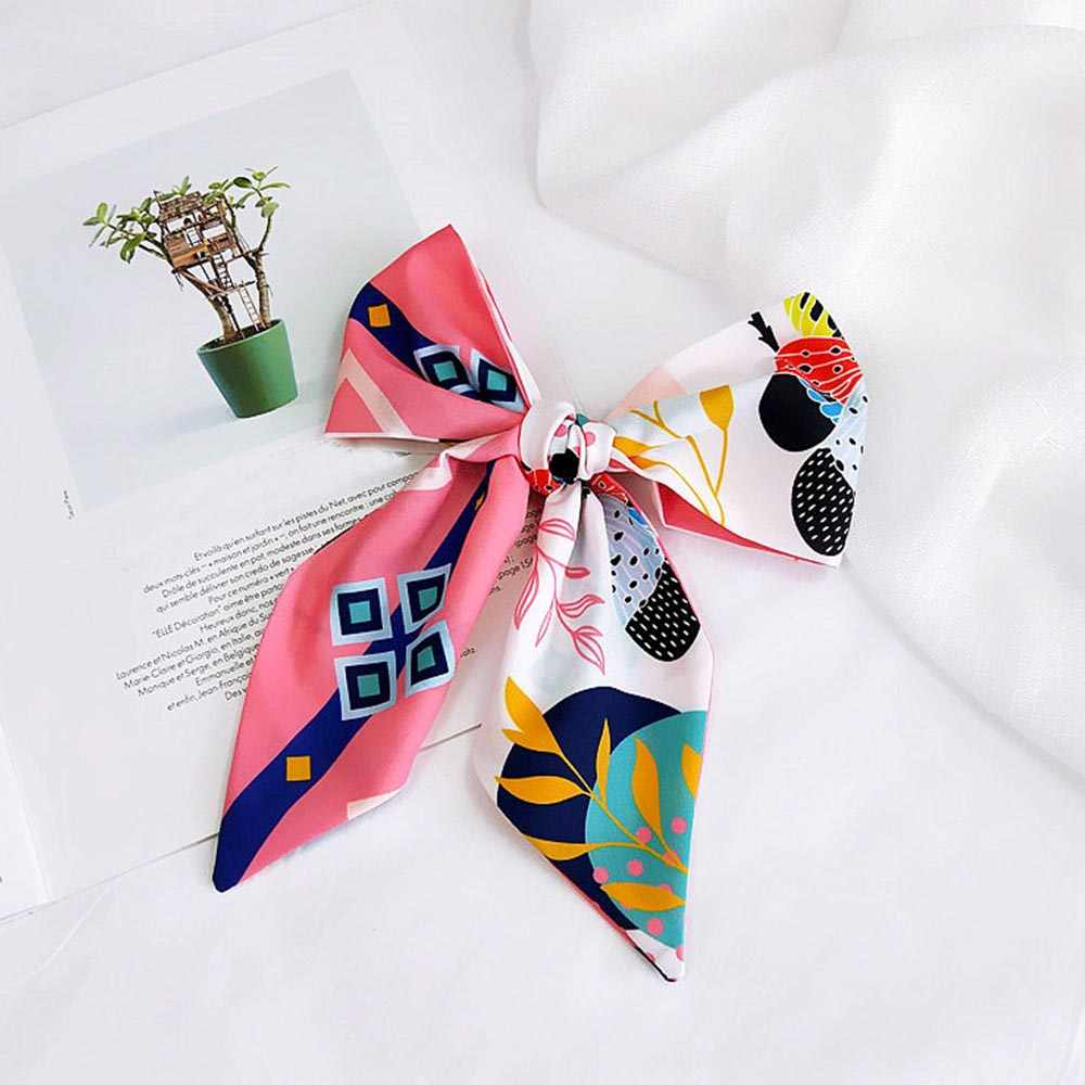 Elegant Women Scarf Tie Band Fashion Silk Head Hair Band Wraps Bag Ribbon Scarf