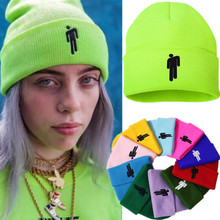 Billie Eilish Beanies Casual Warm Embroidery Knitted Winter Hat Hip-Hop Cap Unisex