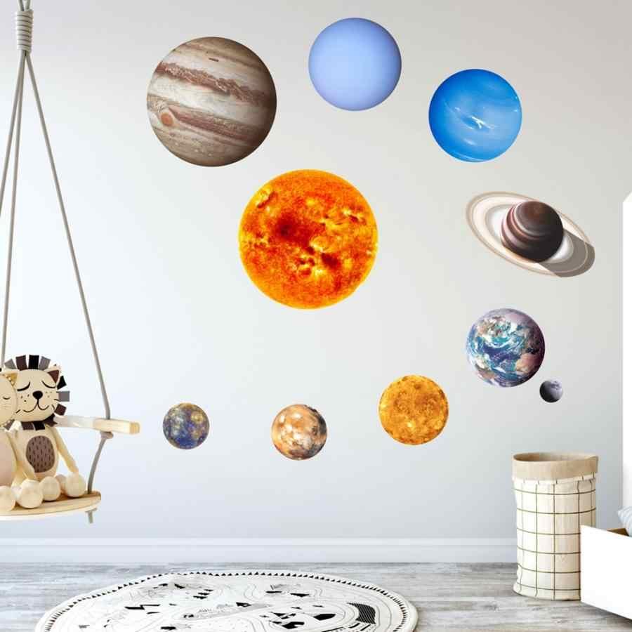 Новое поступление Светящиеся в темноте в форме звезды, которая светится девять планет детской комнаты наклейки на стену для дома украшения
