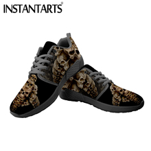 INSTANTARTS New Sneakers Women Men Casual Flats Shoes Cool Gotich Skull Print Breathable Air Mesh Walking Large Size Flat
