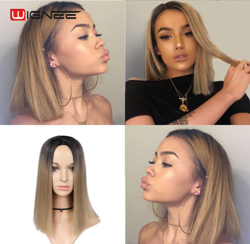 H14da7a5c2af94de48468d2c7b226ebc8N - Wignee 2 Tone Ombre Brown Ash Blonde Synthetic Wig for Women Middle Part Short Straight Hair High Temperature Cosplay Hair Wigs