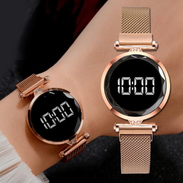 Reloj con imán Digital para mujer, banda de malla de acero inoxidable, pantalla LED, regalo 1