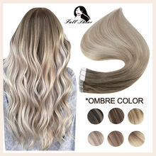 Full Shine Balayage Tape in Human Hair Extensions Straight Skin Weft Real Remy Human Hair Invisible Seamless Ombre For Woman