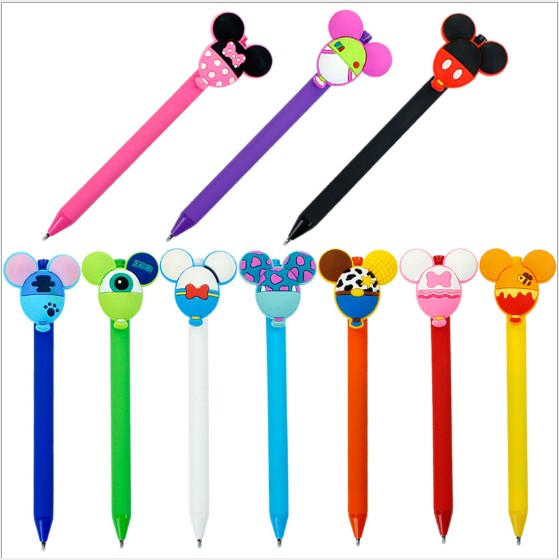 1 Pcs Mickey Minnie Balloon Shape Candy Color Frosted 0.5 Mm Black Gel Pen Creative Learning Stationery Ballpoint Pen For Kids