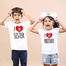 Matching Tshirt Family Look Girls Kids Summer I-Love-My Tops Boys Children Casual Toddler