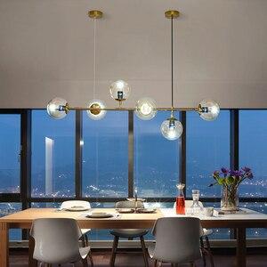 Image 5 - מודרני זכוכית כדור נברשת נורדי אוכל חדר ארוך שולחן תליית אור Creative דקור מנורה ההשעיה עבור בר/חנות
