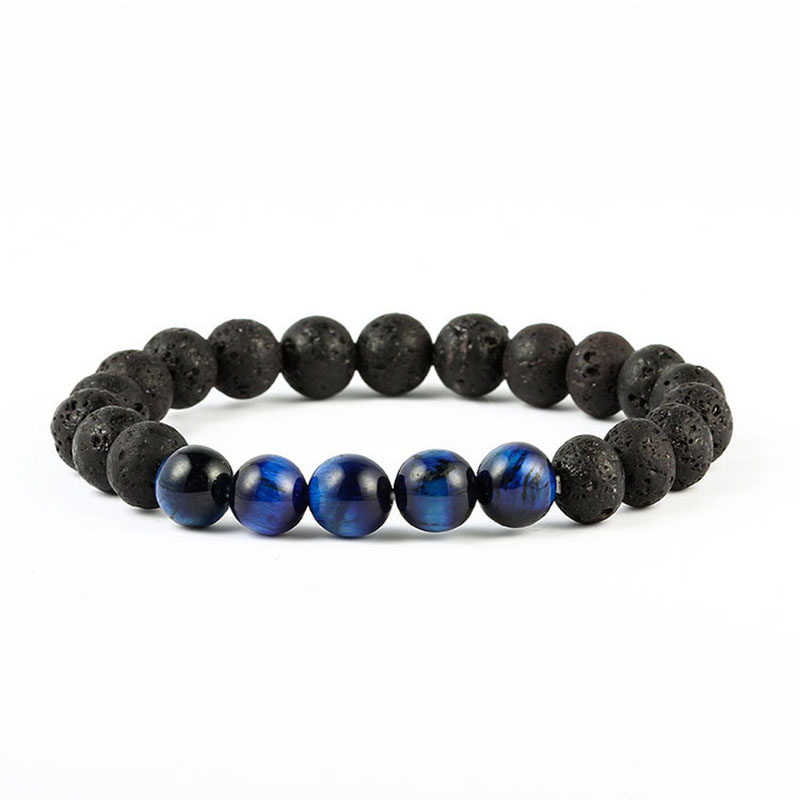 5 Colors Natural Stone Bead Bracelet Lucky Charm Popular Volcanic Tiger Eye 8MM Couple Hand Chain 18cm