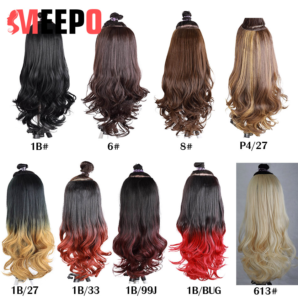 MEEPO U-Part Synthetic Hair Extension Clips In One Piece Wavy 3/4 Full Head Wig Long False Hairpieces Brown Black For Women