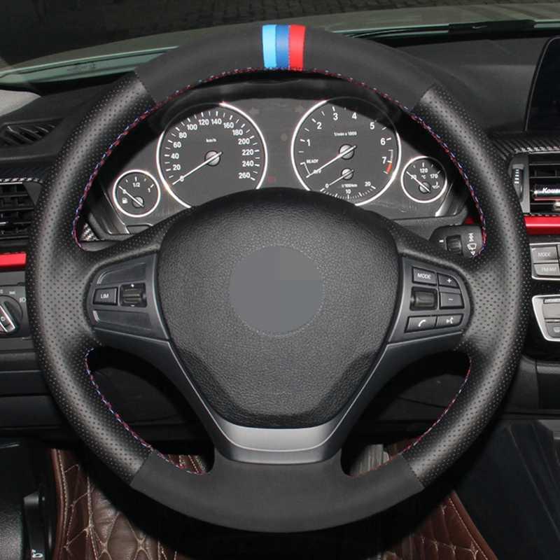 جلد طبيعي أسود أسود الجلد المدبوغ باليد مخيط سيارة غطاء عجلة القيادة ل BMW F20 F21 F22 F23 F30 F31 F34