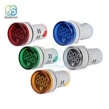 Mini voltímetro digital 22mm painel redondo dc 6-100v volt tensão testador medidor monitor de energia led indicador piloto lâmpada luz exibição