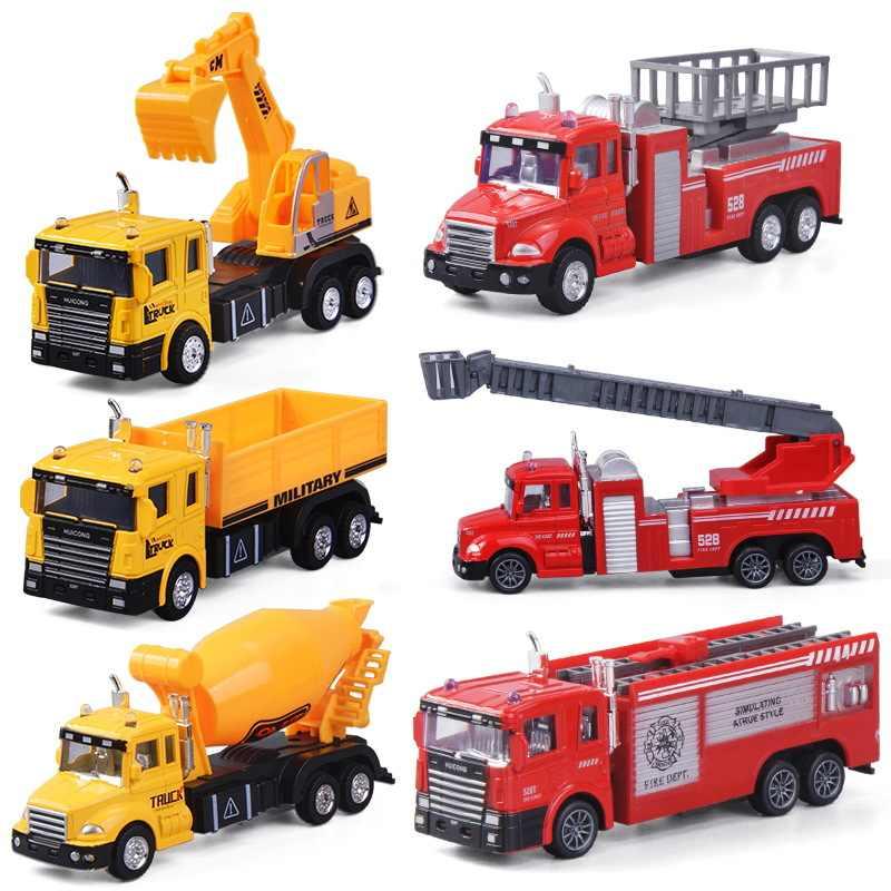 6 יח'\חבילה בניית כלי רכב למשוך בחזרה צעצוע ילדים מיני הנדסת אינרציה מכונית חופר טרקטור מזבלה משאית לילדים תינוק