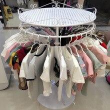 Детская полка для хранения одежды, стеллаж для одежды, железный художественный круг, вращающаяся вешалка для пальто, демонстрационная подставка, полка для острова, напольный дисплей