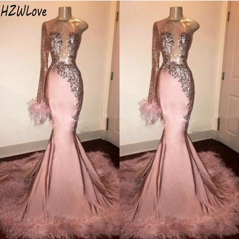 Sequins Full Sleeves Mermaid Evening Dresses with Feathers Appliques Beads One Shoulder African Formal Prom Dress robe de soiree