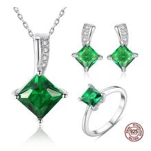 Genuine 925 Sterling Silver Sets For Women Necklace Gemstone Emerald Ring Pendant Stud Earrings Wedding Fine Jewelry(China)