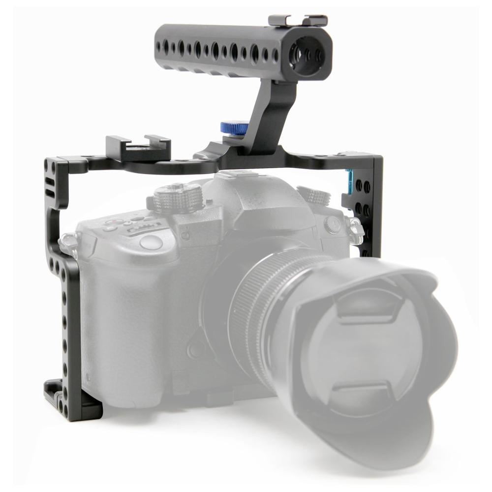 Camera Cage Protecting Case Mount with Top Handle Grip for Panasonic Lumix GH5/<font><b>GH5s</b></font> Camera Photo Studio Kit image