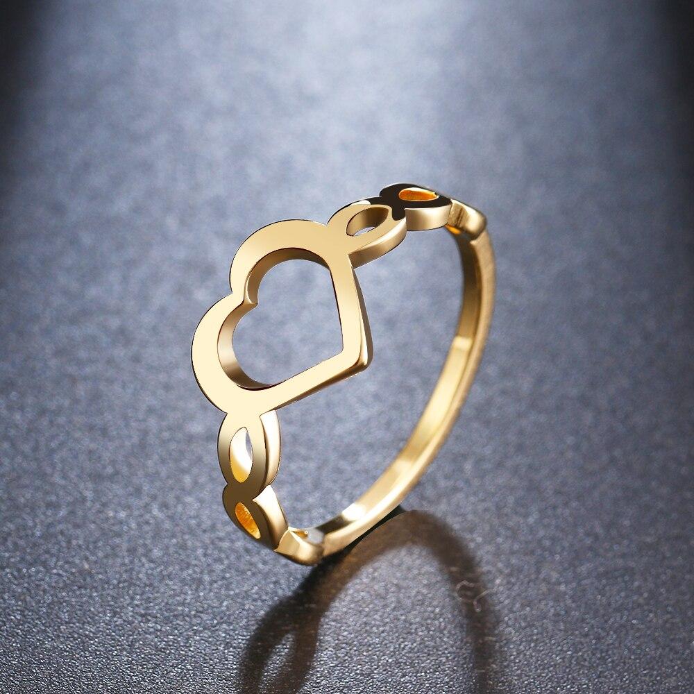 Обручальное кольцо в виде сердца из каканы золотого цвета, кольца для помолвки из нержавеющей стали, модные украшения для женщин, вечерние ю...