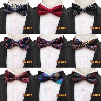Upscale Clothing Accessorie 100% Silk Bowtie for Men Adjustable Pre-tied Bow Tie Grid Dot Cravat Gravata Neckcloth Men Tie Scarf 100% natural silk men s elegant double faced cravat scarf
