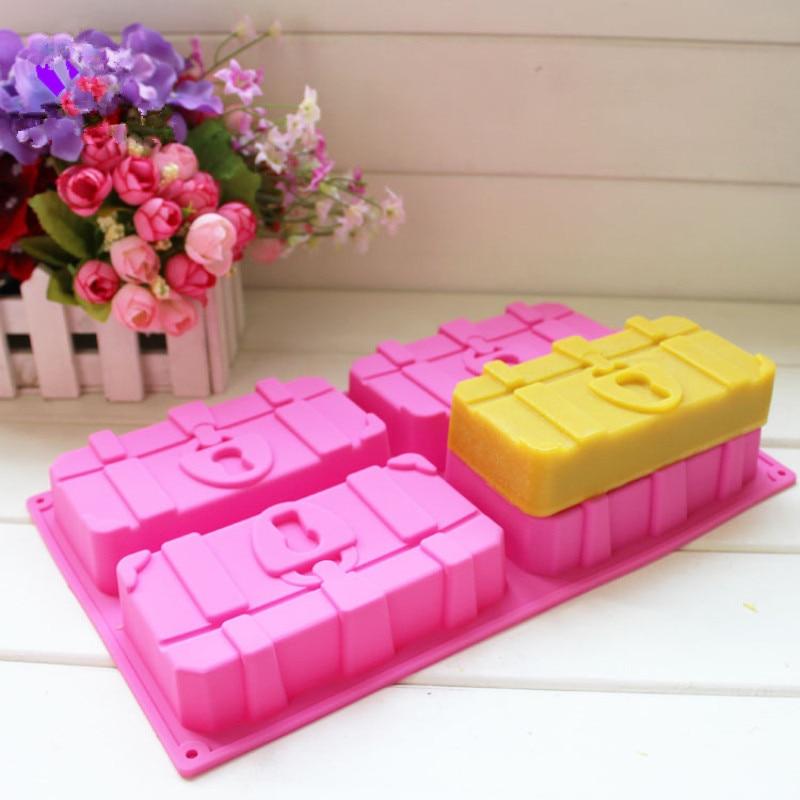 4 Cavity Treasure Box Mold Silicone Soap Mould Homemade Cake DIY Baking Crafts Soap Making Tray Chocolate Decorating Tools