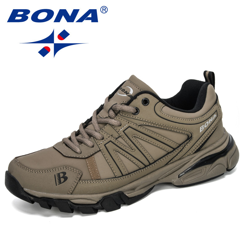 BONA 2019 New Designers Cow Split Running Shoes Outdoor Sports Shoes Men Trendy Athletic Training Footwear Male Jogging Sneakers