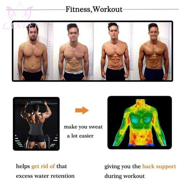 LANFEI Men Waist Trainer Belts Sauna Slimming Body Shapers Girdle Neoprene Workout Sweat Waist Trimmer Corset for Weight Loss 2