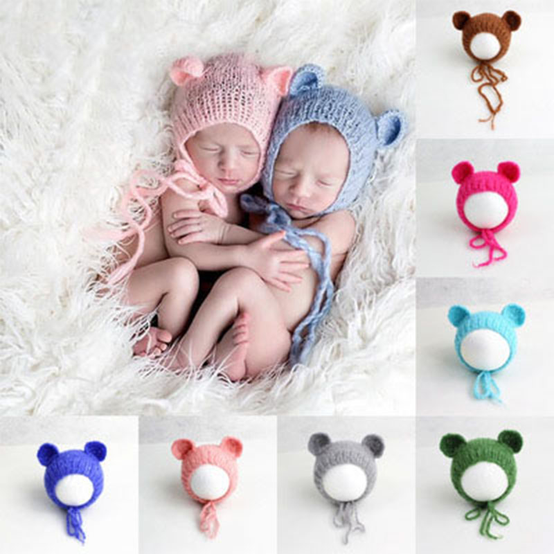 Newborn Baby Photography Props Accessories Baby Photography Decor Baby Cartoon Wool Hat With Ears Boy And Girl 0-3Months