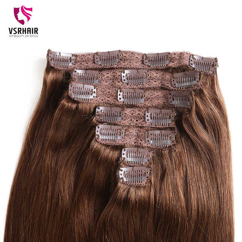 VSR 160G 24 אינץ מכונה רמי קליפ שיער משיי כפול נמשך שיער עבה תחתון 7 יחידות\סט קליפ שיער טבעי הארכת