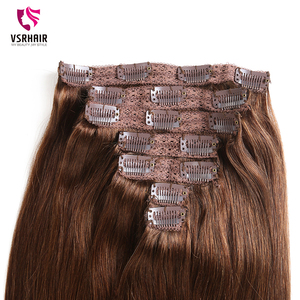 Image 3 - VSR 180g 200g 220g 24Inch Machine Remy Clip Hair Silky Double Drawn Thick Hair Bottom 7Pieces/Set Clip In Human Hair Extension