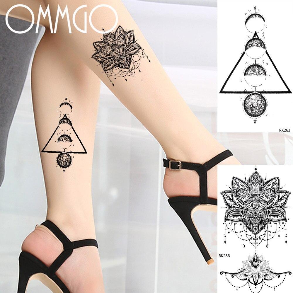 Black Round Triangle Tree Temporary Tattoo Body Art Arm Leg Tatoo Paper Paste Realistic Diy 3d Waterproof Fake Tattoo Sticker