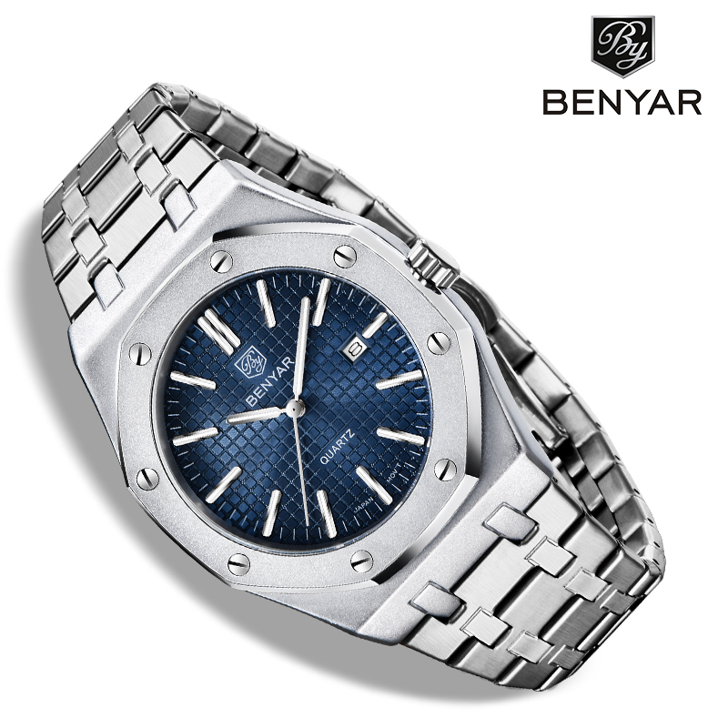 BENYAR New Men's Watches Quartz Top Luxury Brand Business Clock Men All Steel Wrist Watch Men Waterproof Watch Relogio Masculino